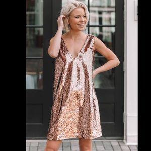 BB Dakota Rose Gold Sequined Swing Dress NWOT